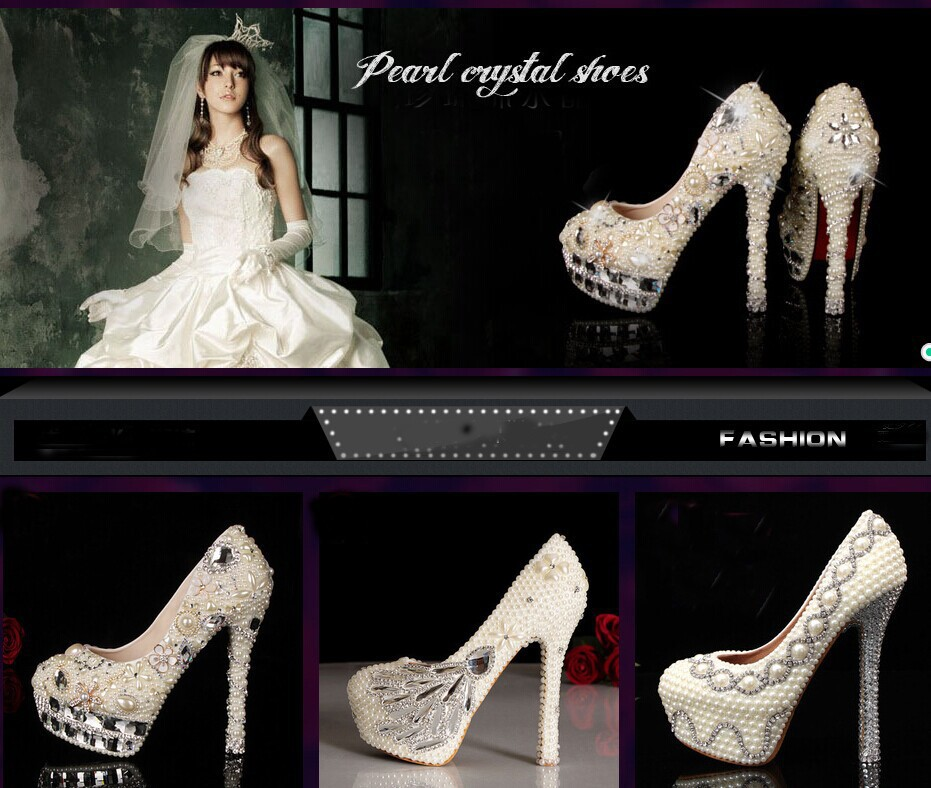 White Wedding Bridal Dress Shoes Super High heel 14cm Fashion Lady Shoes Match anniversary party Woman Evening Prom Pumps
