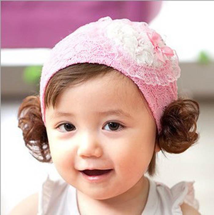 Cute Kids Baby Girls Headband Wig Lace Love Heart Hair Band Bandanas(China (Mainland))