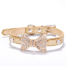 Buy Bling Crystal Bow PU Leather Pet Collar Puppy Cat Necklace Dog Harness Leash Dogs Mascotas Gold Pet Collars Small Dogs for $1.69 in AliExpress store