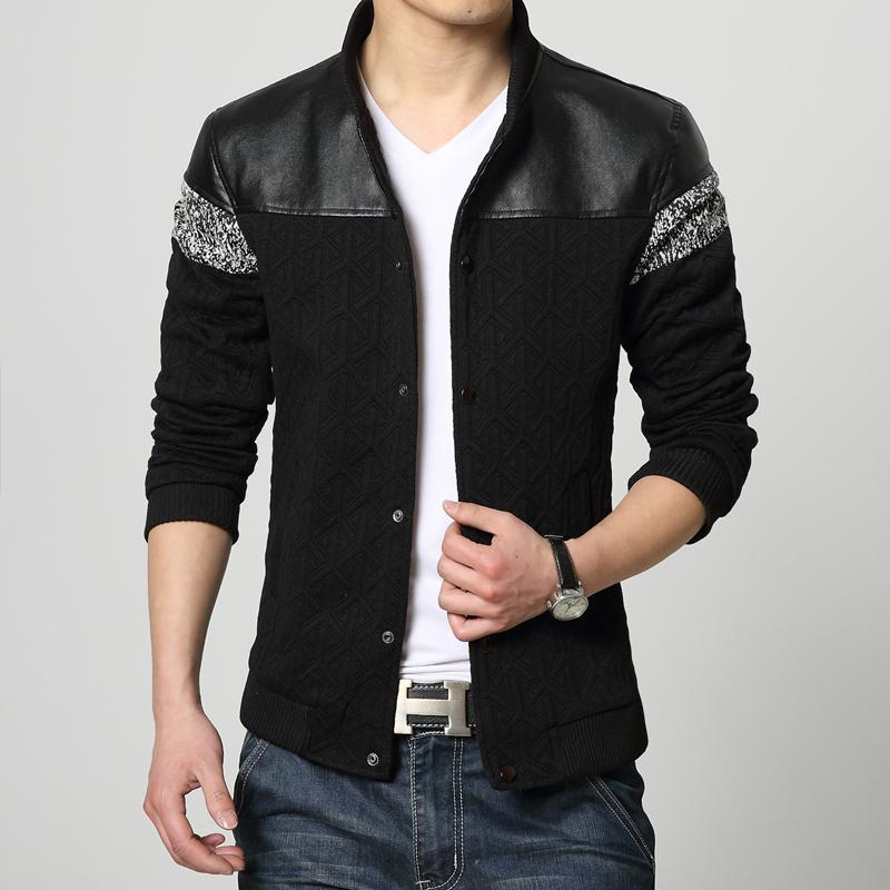 Baseball Collar Men Coat Outdoor Casual Sport Men's Jackets 2015 Autumn New Plus Size Pu Leather Patchwork Men's Clothing Retail(China (Mainland))