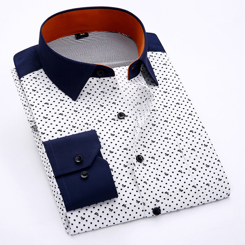 Men Long Sleeve Shirt Slim Fit Print Polyester Cool Spring Summer Style Boys Casual Shirts Plus Size 4XL Formal Business Fashion(China (Mainland))