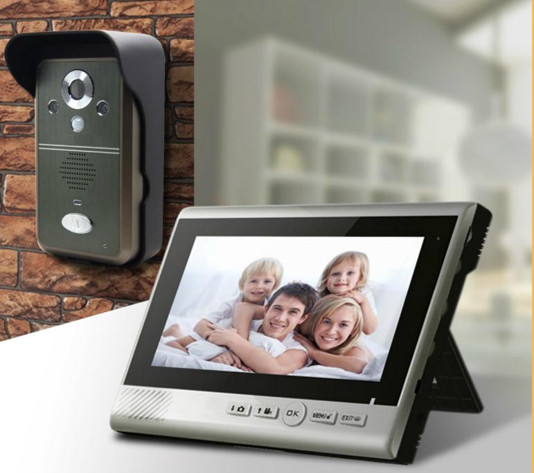 Wireless Video Doorphone+Motion Sensor+Intercom+Control doorlock+7 inch portbale monitor Screen+ two-way intercom(China (Mainland))