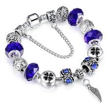 Fashion Top Quality Lock & Key Charm Bracelets & Bangles White Glass Beads fit Pandora Bracelet for Women Jewelry(China (Mainland))