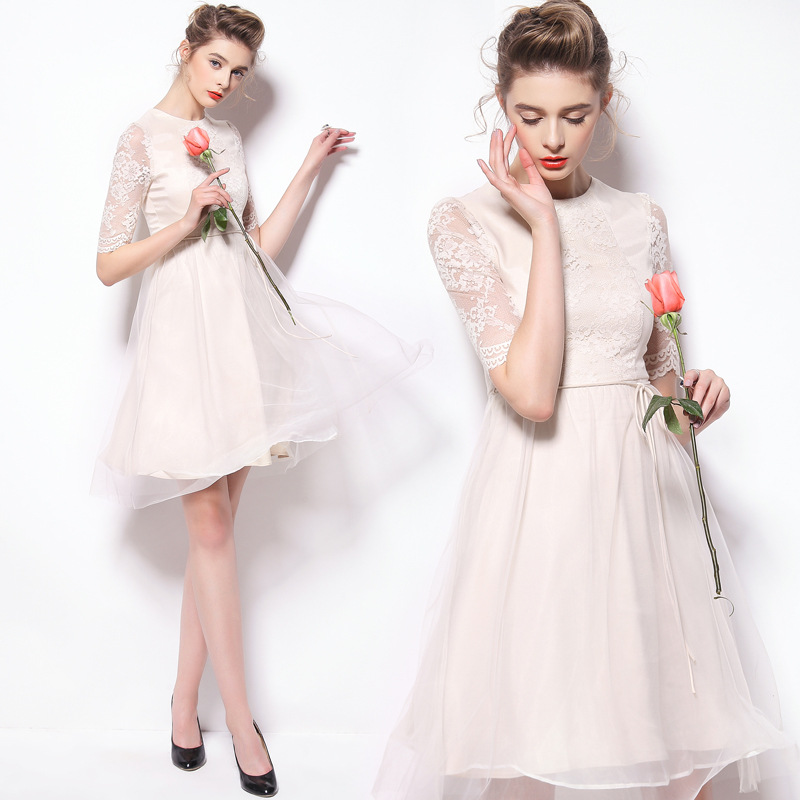 women's 2015 sprg  new brand Q150085 cultivate one's morality dress  pure color   dress