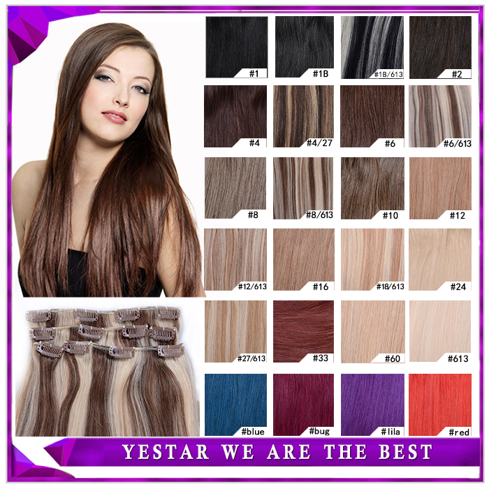 "Fast Shipping Clip in Hair Extension Natural Human Hair 16""-20"" 7Pcs Real Person's Hair Remy Clip In Human Hair Extension(China (Mainland))"