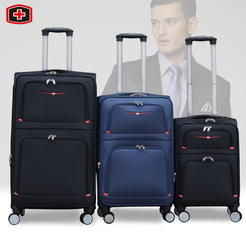 Swiss army knife universal wheels trolley luggage travel bag male password box oxford fabric luggage soft box,20 24 29 luggage(China (Mainland))