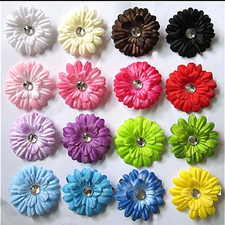 Fashion Girl Baby Headwear Daisy Hair Flower Clips Bow Headbands With Crystal Center Hair Accessories BB-009(China (Mainland))