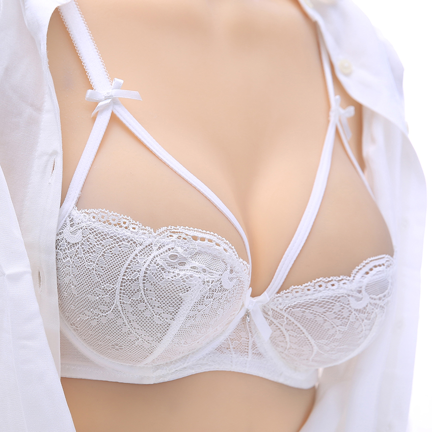 Lace embroidery ultra-thin sponge translucent sexy bra sets white lacing women's underwear cutout BC cup 32B 32C 34B 34C 36B 36C(China (Mainland))
