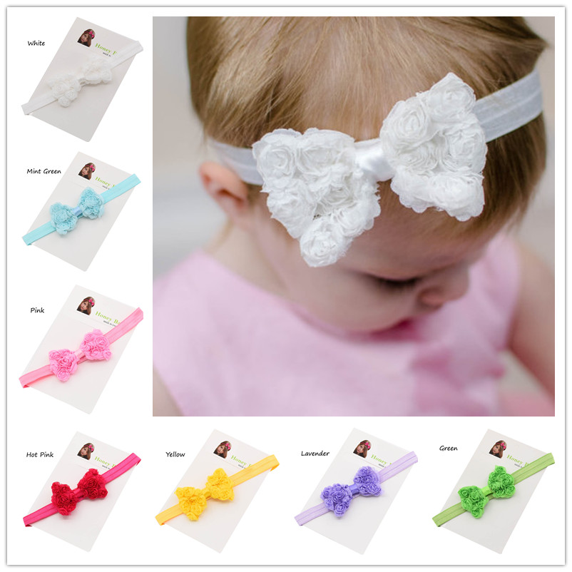 2pcs Shabby Chic Rosette Bow headbands Fancy Hair Bow Hairband Baby Photo Prop Newborn baby Baptism Gift Bowknot headband(China (Mainland))
