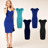 2015 New V-neck Pencil Dress Summer Women's Office Slim Knee-Length Sexy Bodycon Dress  D090