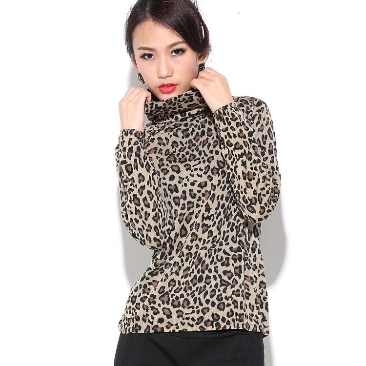 Leopard print turtleneck long-sleeve mulberry silk basic shirt hs-3859bОдежда и ак�е��уары<br><br><br>Aliexpress