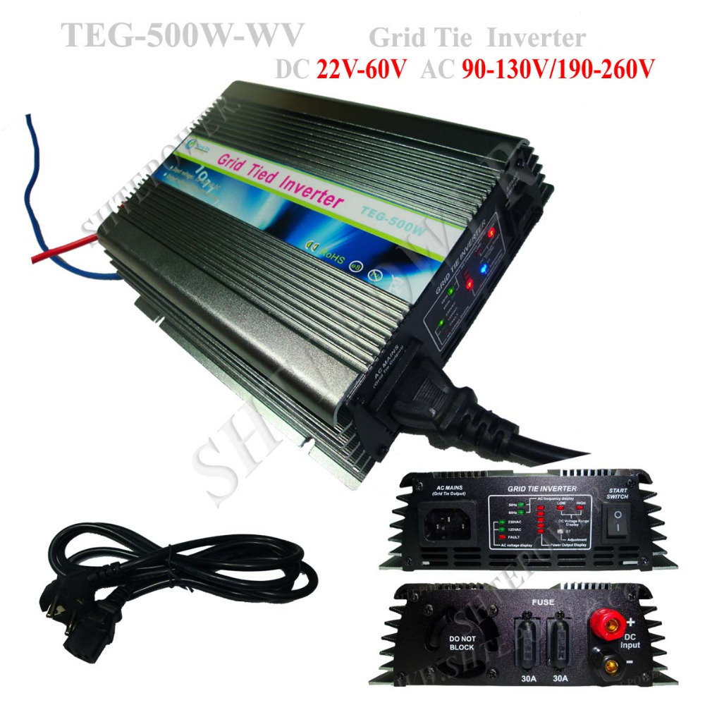 Grid Tie Inverters 500W Panel Solar Inverter 110V/120V/220V/230V/240V DC 22V-60V Input(China (Mainland))