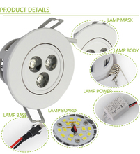 2pcs/lot Dimmable 3w led down light white shell 85-265v 270lm recessed led ceiling spot down lamp ce rosh led downlight 3w(China (Mainland))