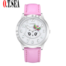 Buy 2017 Fashion O.T.SEA Brand Lovely Cat Leather Watches Childlren Girl Women Crystal Quartz Dress Wristwatches for $2.10 in AliExpress store
