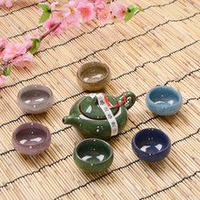 Seven ice crack glaze tea sets of high grade gift boxes