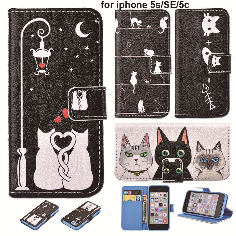 Fashion Cartoon Book Style Leather Flip Phone Case Cover For iPhone SE 5S 5C Cat Painted with Wallet Card Slot & Stand For i5(China (Mainland))