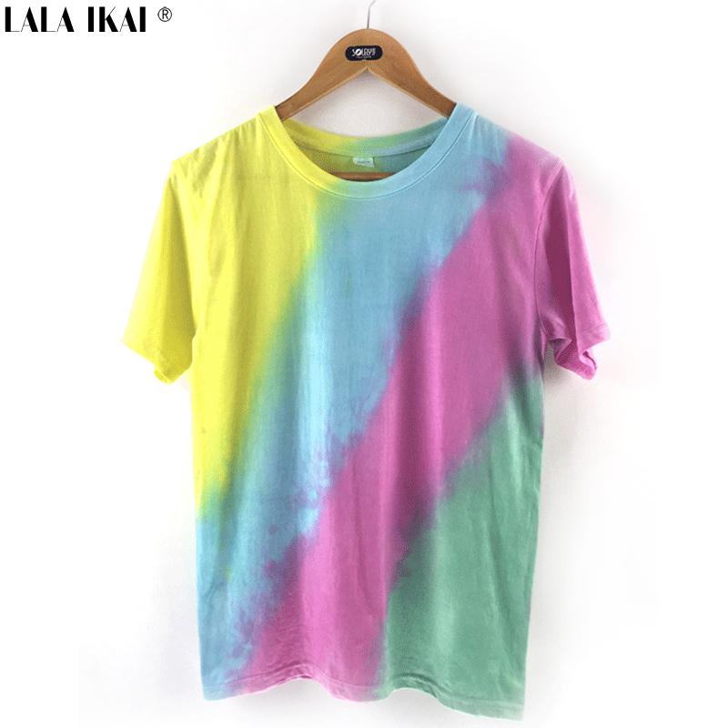 Girl Harajuku T-Shirt Hand Tie-Dyed Gradient Striped Tees Rainbow Tees Summer Tops Large Size SWB0159 -5(China (Mainland))