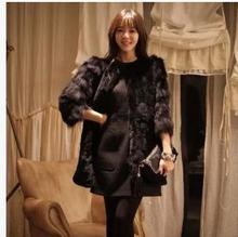 Vetement Autumn Winter Office Faux Fur Coat Lady Medium Long Style Fur Jacket Solid Black Warm Casual Female Overcoat YY1041(China (Mainland))
