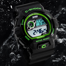 Cool Sports Men Chronograph Digital Watches Boy Students Favorite Luminous Rubber Wristwatch 30M Water Resistant Clock NW772