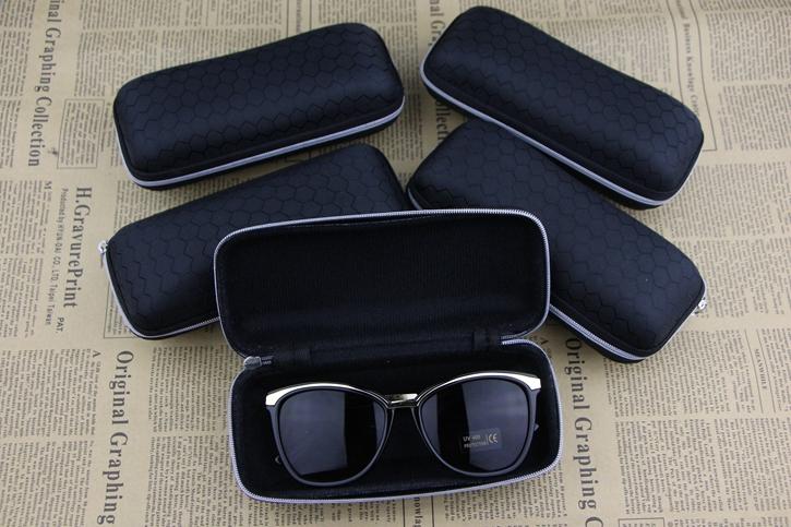 black Waterproof sunglasses case font b Plaid b font pattern zipper large capacity leather glasses box