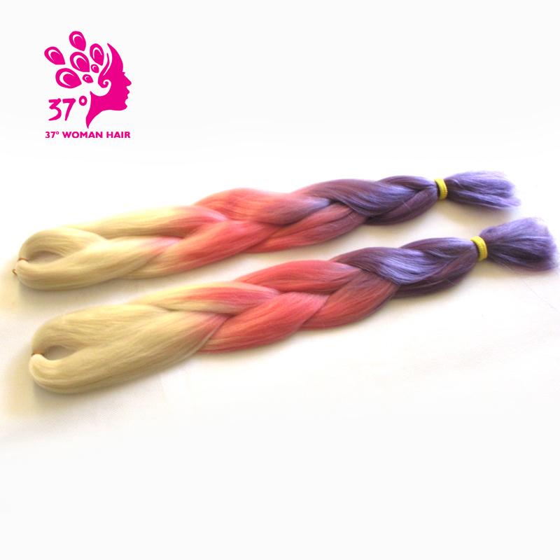 Four tone kanekalon jumbo braid hair ombre expression braiding box hair length 24 100g  1 Piece Only  Hot ! ! !<br><br>Aliexpress
