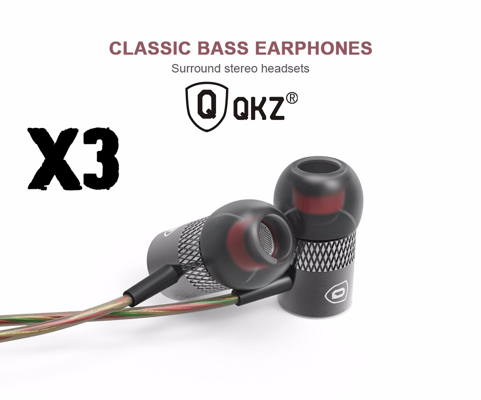Original QKZ X3 In-ear Earphones Unique Engine Shape Supper Bass auriculares Headset With Mic For iPhone iPad Samsung MP3 MP4