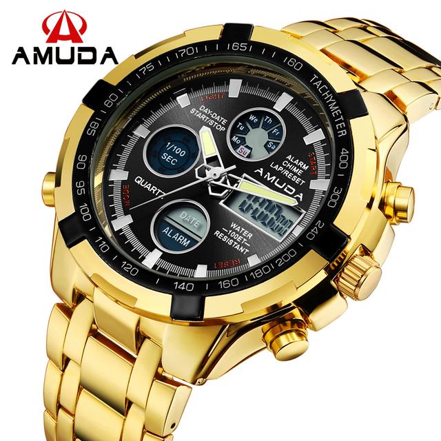Бренд AMUDA Мода Цифровые Часы Мужчин Привели Полный Стали Золотые Мужские Спорт Кварцевые Часы Армия Армия Мужские Часы relogio masculino