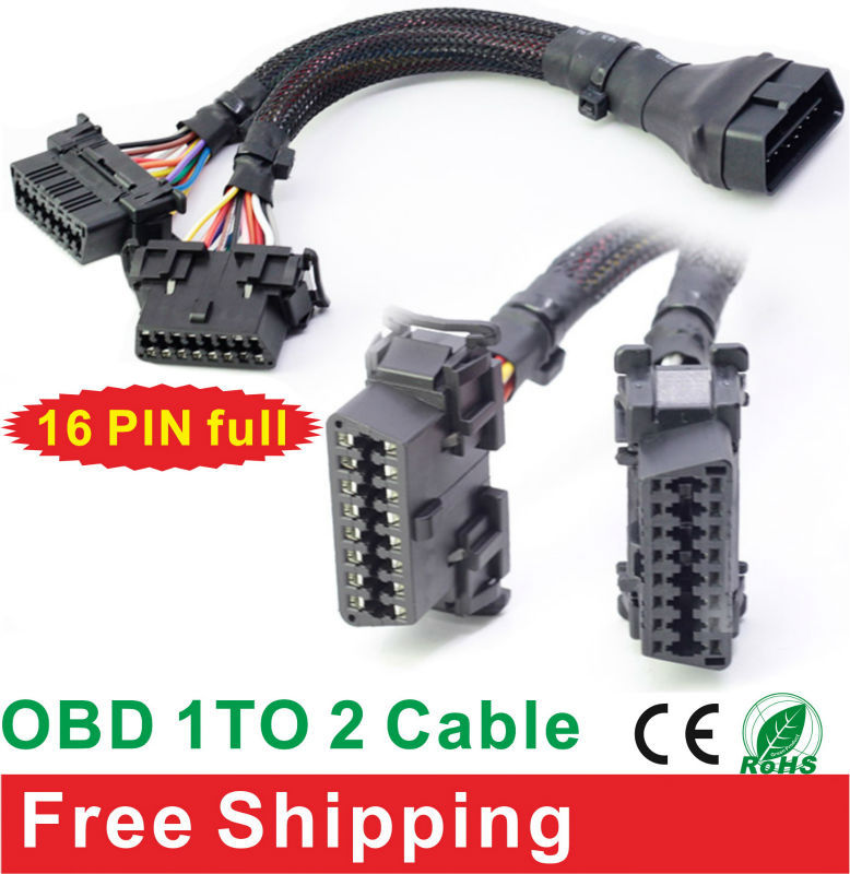 16 Pin Full OBD 1 TO 2 Cable For Car Scanner Scan Diagnostic Tools Connector (Free Shipping) CE(China (Mainland))
