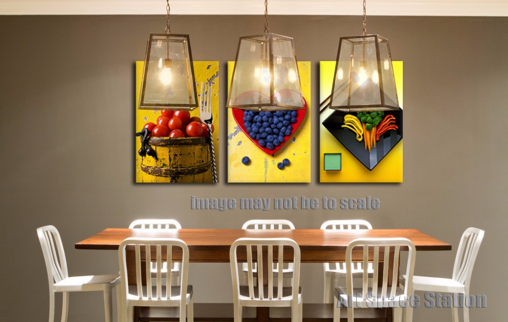 Yellow modern abstract canvas art painting print fruits for Dining wall painting