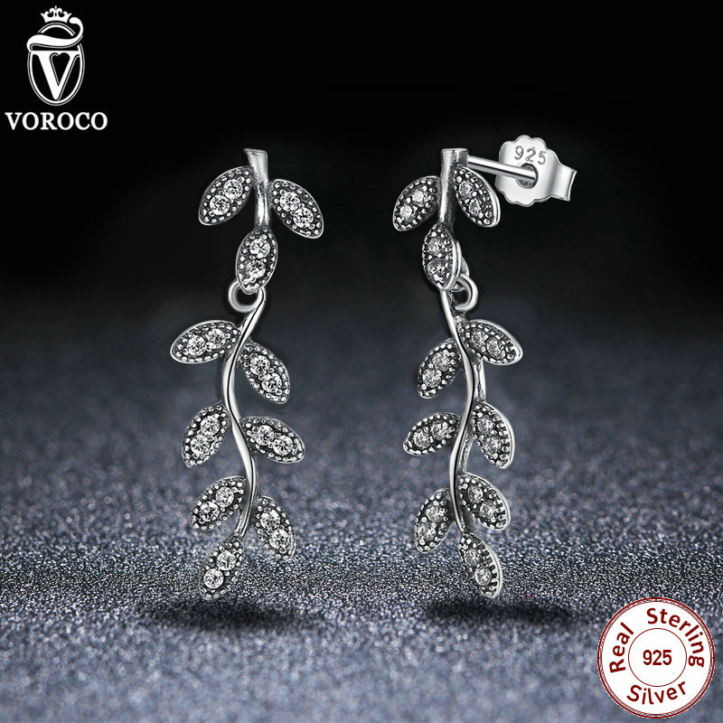 100% 925 Sterling Silver Sparkling Leaves & Branches Earrings, Clear CZ Women Drop Earrings Engagement Jewelry S466(China (Mainland))