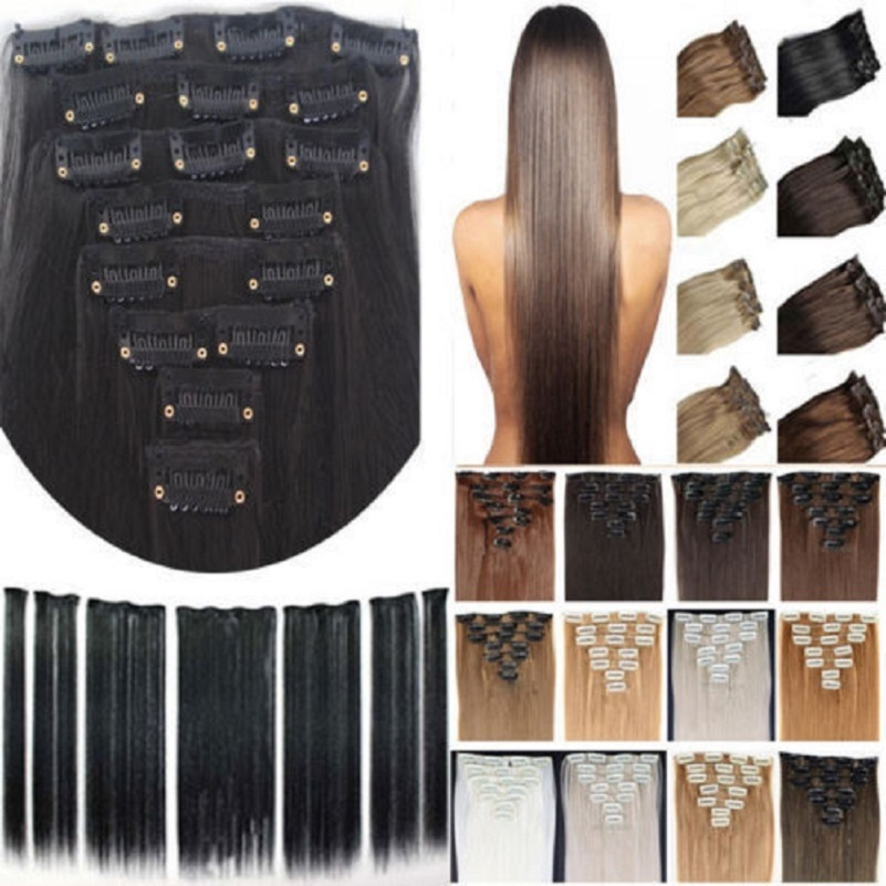 """free shipping 24""""(60cm)7pcs set 115g-125g 17 colors Long Straight Synthetic Hair Clip in on hair extensions(China (Mainland))"""