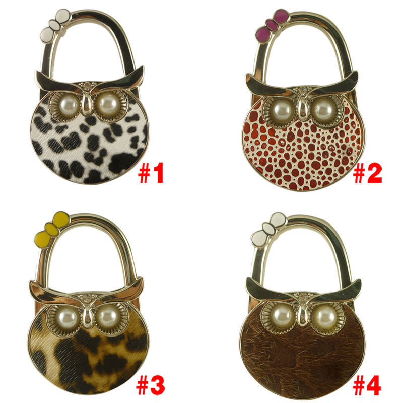 Cute Owl Hanger Foldable Bag Hook Handbag Holder Metal Table Hook(China (Mainland))