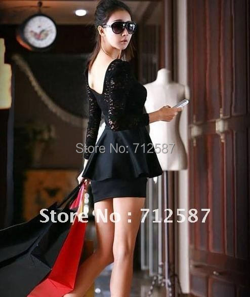 Women Sexy Elegant Black Lace Dress Cocktail Girls One-piece Cute Dress #5175~free shipping