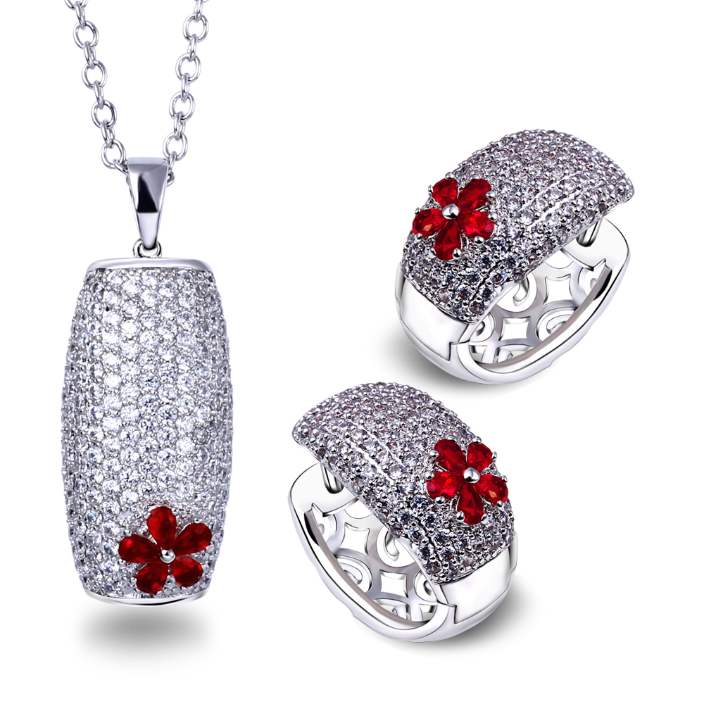 (Beauty) Red Necklace Earrings Jewelry sets Women 200 Piece Siam CZ Crystal Lead Free Wedding Party Drop Ship - Beauty Accessories online shop store