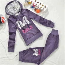 Hot Sale Kids Velvet Clothing Sets for Little Girls Fashion Warm Hooded Suits Free Shipping A3092(China (Mainland))