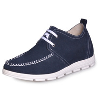 C159_2   Blue  Genuine Leather  Men's Elevator  Shoes Gain 2 inches taller