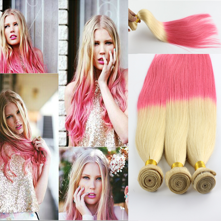 Rosa Hair Brazilian Ombre Straight Virgin Hair 3pcs Lot blonde To Pink Two Tone Human Hair Bundles 12-26inch Length Good Quality