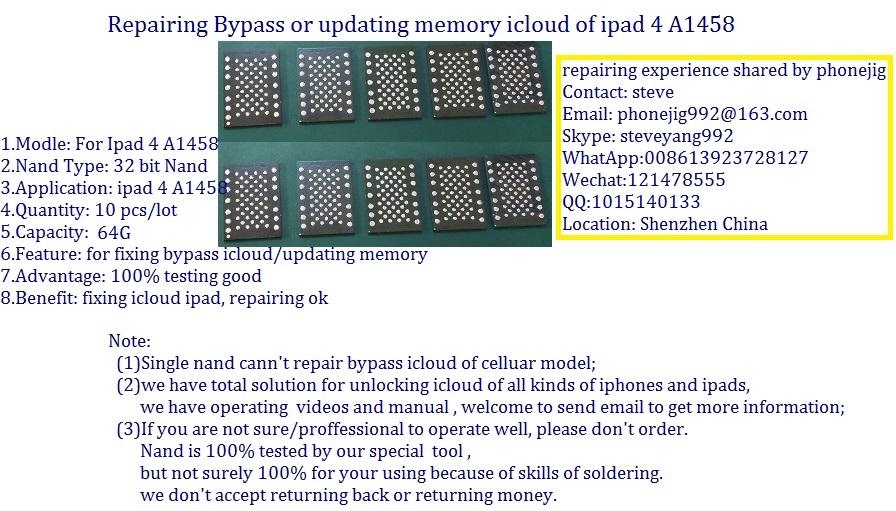unlock ipad4 nand flash 64G serial number,clean sn,ipad hdd chip bypass A1458 icloud ipad 4,100% free ship 10pcs