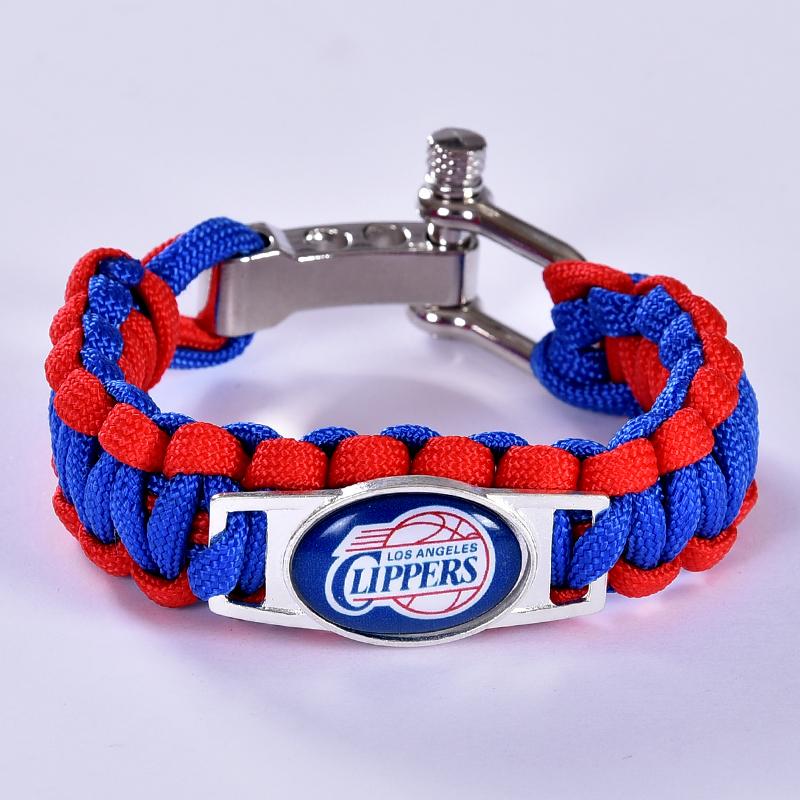 Los Angeles Basketball Team Paracord Bracelet Survival Bracelet Blue/red , Drop Shipping! 6Pcs/lot!(China (Mainland))