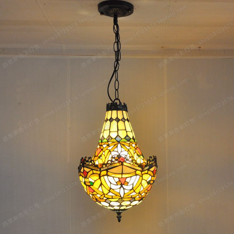 American Crystal factory outlets Tiffany glass chandelier lighting color creative retro antique shop cafe bar staircase lighting(China (Mainland))