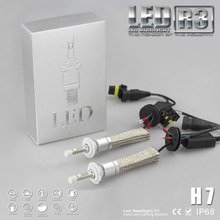 Super Bright R3 9600lm H7 Xenon White 6000K Car LED Headlight Conversion Kit Cree XHP-50 4800lm Bulb(China (Mainland))