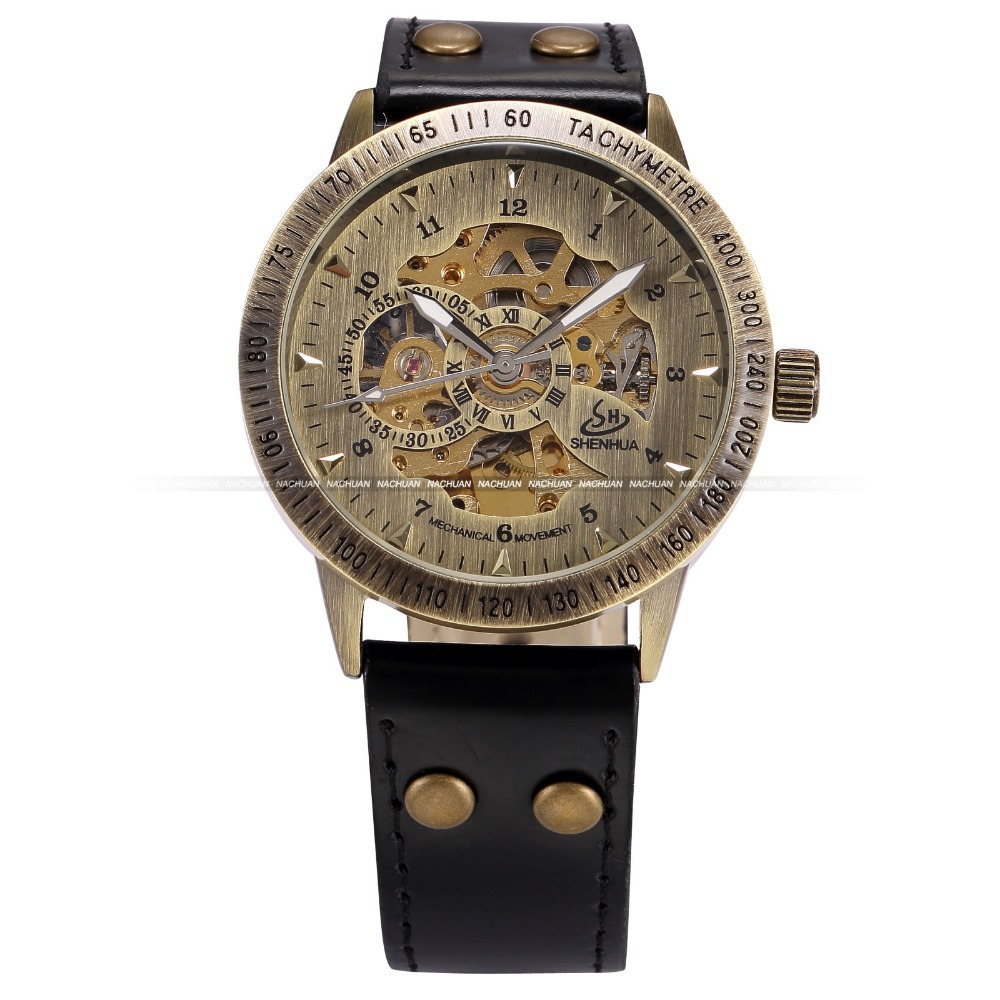Vintage Bronze Men Wristwatches Skeleton Male Clock Leather Strap Steampunk Casual Watches Automatic Mechanical Watch / PMW364(China (Mainland))