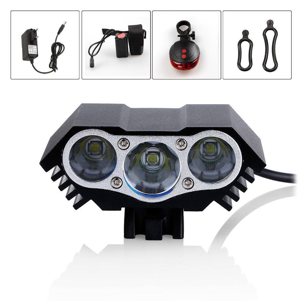 6000Lumen 3x CREE XM-L T6 LED Bicycle Light Head Front light Headlight 8.4v Battery Pack+Rear Light<br><br>Aliexpress
