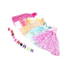 5Pcs Handmade Princess Party Gown Dresses Clothes 10 Shoes For doll Wholesale Store(China (Mainland))