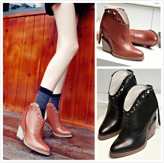 2016 Spring New Pointy Toe Thick Heels Increased Inner Short Boots Black Brown Cowhide Fashion Elegant Booties Shoes Discount