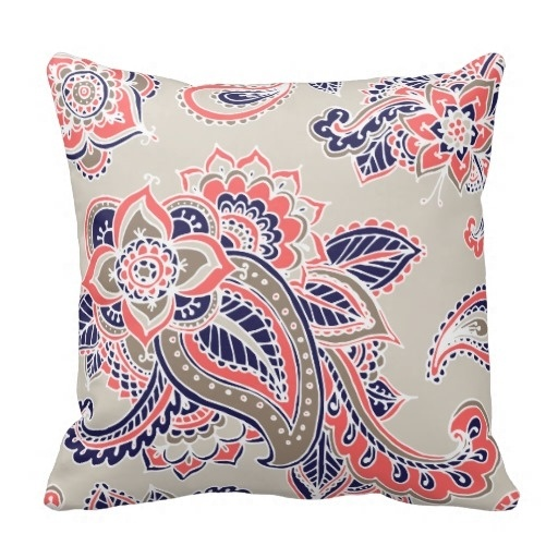 Past Colorful Bohemian Paisley Throw Pillow Case (Size: 20