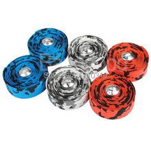 2015 New 217 Centimetres Muti-color Environmental Bicycle Handlebar Tape Cycling Road Bike Cork Rubber Foam Wrap + 2Bar Plug Hot
