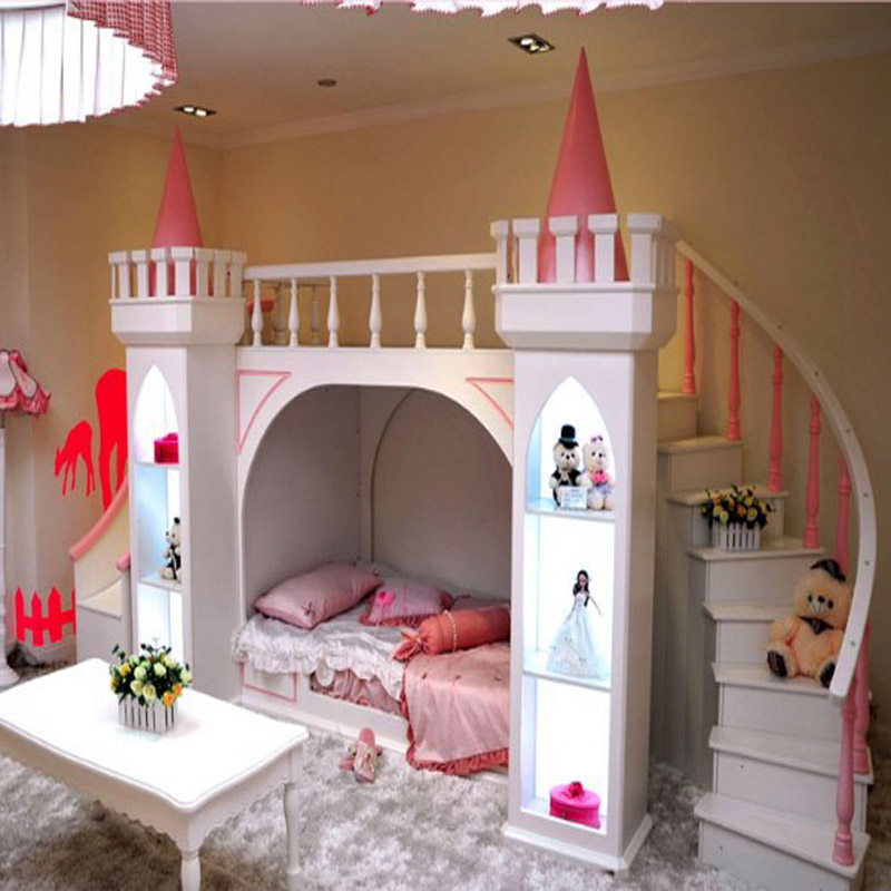 ... Bunk-Beds-Children-Bed-Castle-Princess-Castle-Bed-Room-Ladder-Cabinet