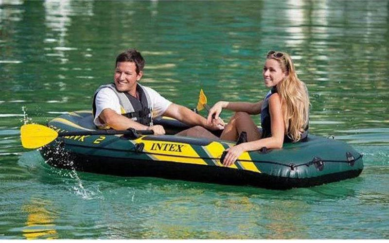 Intex Seahawk inflatable boat 2 person fishing boat 236*114*41cm, a pair of oars, hand pump included(China (Mainland))