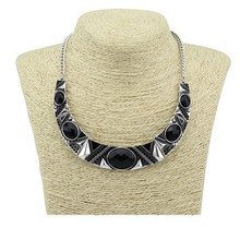 Statement Necklace 2016New Vintage Jewelry Silver Color Alloy Black Resin Bead Choker Necklace Fashion Bijoux Necklace